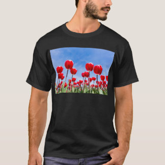 Red tulips field from below with blue sky T-Shirt