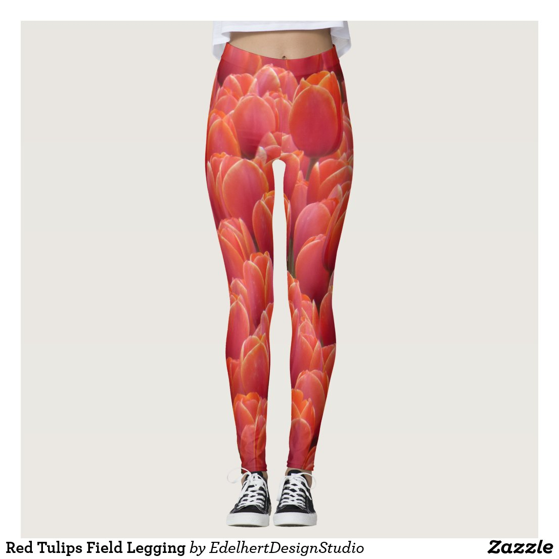Red Tulips Field Legging