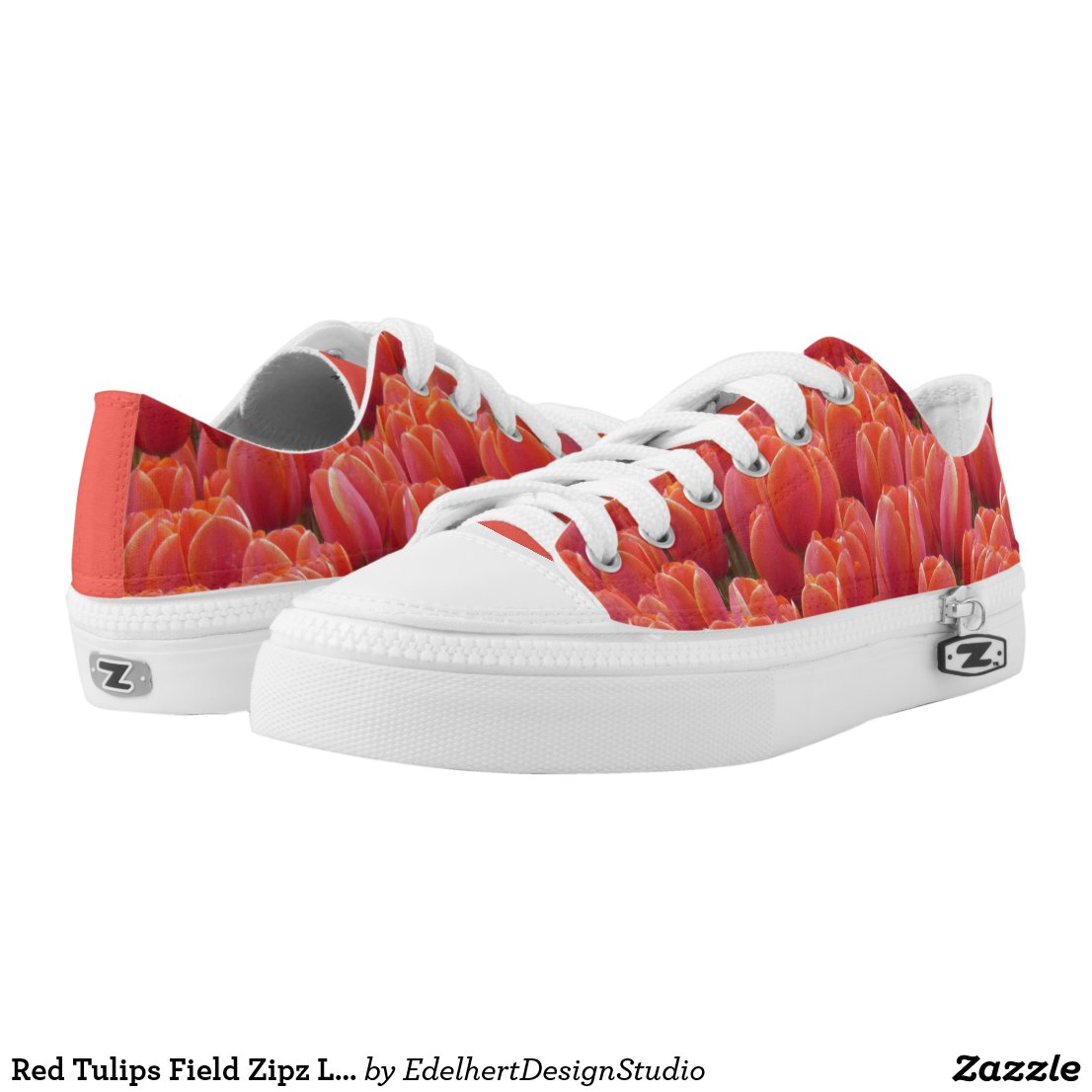 Red Tulips Field Zipz Low Top Shoes