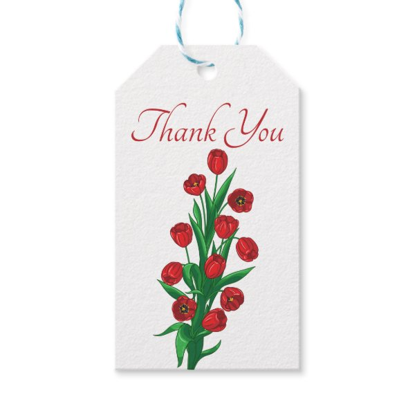 Red Tulips Floral Thank You Wedding Spring Flowers Gift Tags
