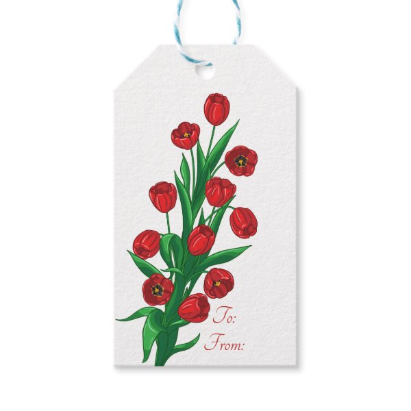 Red Tulips Floral Wedding Spring Flowers Gift Tags