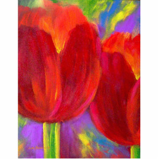 Red Tulips Flower Painting Art Photo Sculpture
