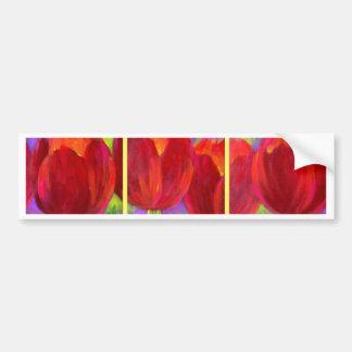 Red Tulips Flowers Art Painting - Multi Car Bumper Sticker