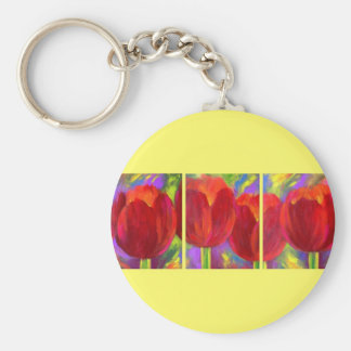 Red Tulips Flowers Art Painting - Multi Keychain