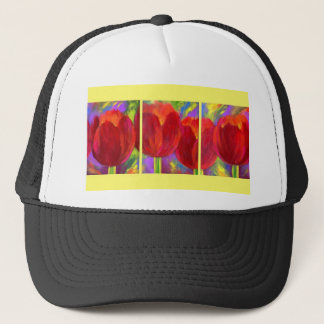 Red Tulips Flowers Art Painting - Multi Trucker Hat