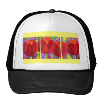 Red Tulips Flowers Art Painting - Multi Trucker Hat