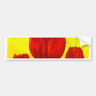 Red Tulips Flowers Painting Art - Multi Bumper Sticker