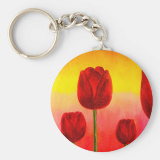Red Tulips Flowers Painting Art - Multi Keychains