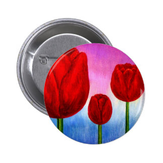 Red Tulips Flowers Painting Art - Multi Pin