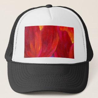 Red Tulips Flowers Painting Art - Multi Trucker Hat