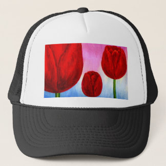Red Tulips Flowers Painting Art - Multi Trucker Hat