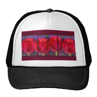 Red Tulips Flowers Painting - Multi Hats