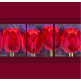 Red Tulips Flowers Painting - Multi Statuette