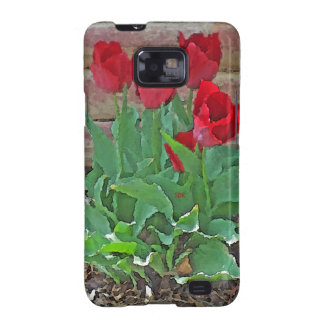 Red Tulips Flowers Petals Bloom by SD Kelley Samsung Galaxy SII Covers