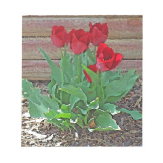 Red Tulips Flowers Petals Bloom by SD Kelley Notepad