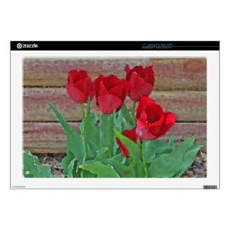 "Red Tulips Flowers Petals Bloom by SD Kelley Skin For 17"" Laptop"