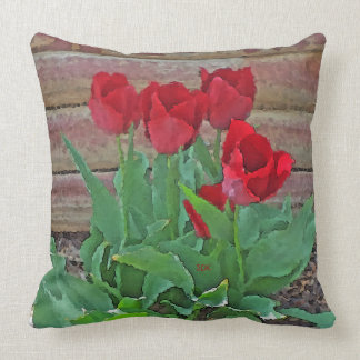 Red Tulips Flowers Petals Bloom in their Prime Throw Pillow