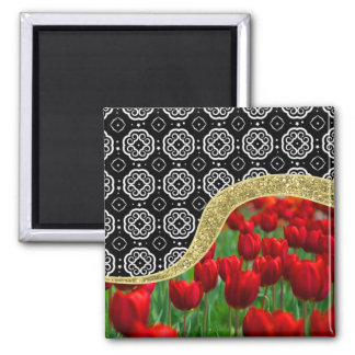Red Tulips Gold Glitter BW Decorative Pattern 2 Inch Square Magnet