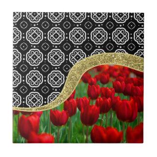 Red Tulips Gold Glitter BW Decorative Pattern Ceramic Tile