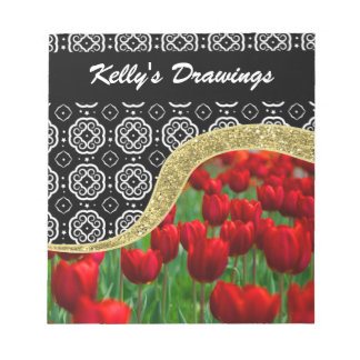 Red Tulips Gold Glitter BW Decorative Pattern Notepad