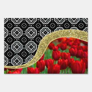 Red Tulips Gold Glitter BW Decorative Pattern Sign