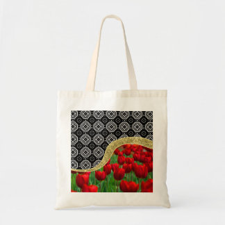 Red Tulips Gold Glitter BW Decorative Pattern Tote Bag