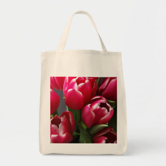 Red Tulips Grocery Tote Bag