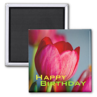 Red Tulips • Happy Birthday Magnet