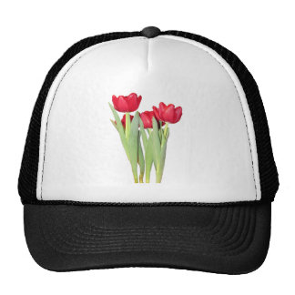 Red Tulips Trucker Hats