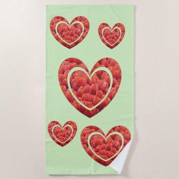 Beach Themed Red Tulips Hearts Cust. Backgr. Color Beach Towel