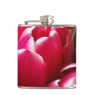 Red Tulips Hip Flasks