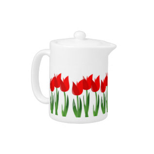 Red Tulips Hot Beverage Pot Teapot at Zazzle