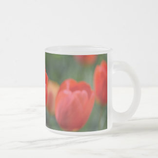 Red Tulips in the Garden Frosted Glass Coffee Mug