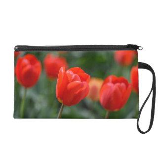 Red Tulips in the Garden Wristlet