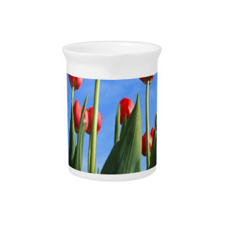 Red Tulips In The Sky Drink Pitcher