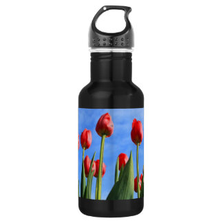 Red Tulips In The Sky Stainless Steel Water Bottle