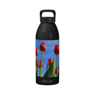 Red Tulips In The Sky Reusable Water Bottles