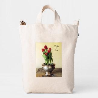 Red Tulips in Vase Duck Bag
