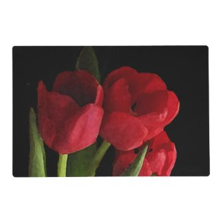 Red Tulips Laminated Placemat