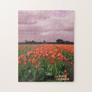 Red Tulips Landscape Puzzle