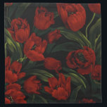 "Red Tulips on Black Napkin<br><div class=""desc"">Set of 4 12"" x 12"" cloth cocktail napkins with an image of beautiful deep red tulips and lush green leaves on black. See matching paper cocktail napkin and coasters. See the entire Mother&#39;s Day Napkin collection in the FOOD/BEV 