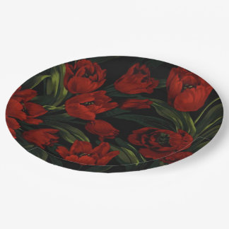 Red Tulips on Black Paper Plate