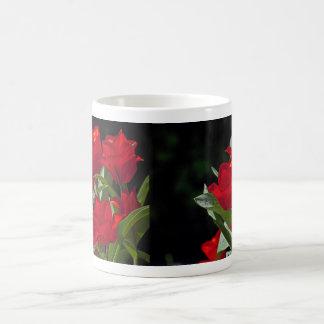 Red Tulips on Black Still Life Coffee Mugs