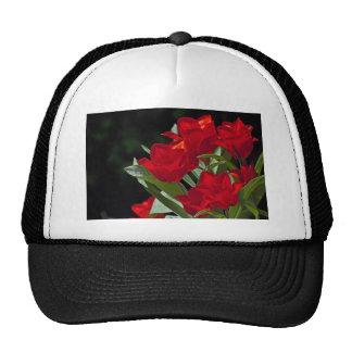 Red Tulips on Black Still Life Hat