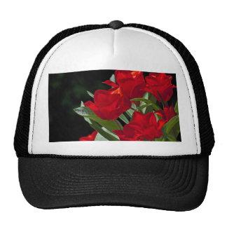 Red Tulips on Black Still Life Mesh Hat