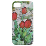Red tulips painting iPhone 5 cover
