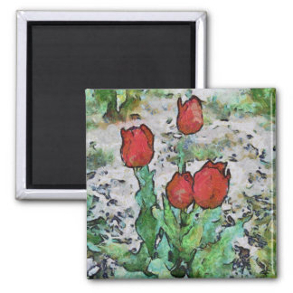 Red tulips painting magnets