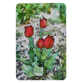 Red tulips painting flexible magnet