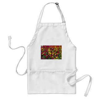 Red Tulips, pansies, daisies and primulas flowers Adult Apron