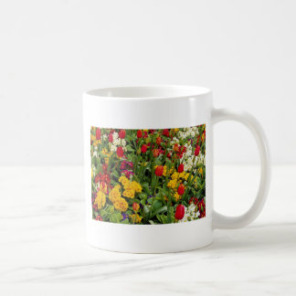 Red Tulips, pansies, daisies and primulas flowers Classic White Coffee Mug